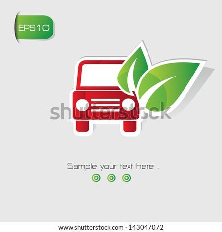 Ecology car symbol,vector - stock vector