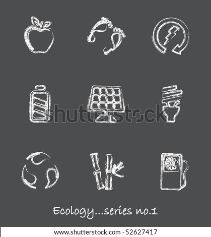 Ecology chalkboard icons...series no.1 - stock vector