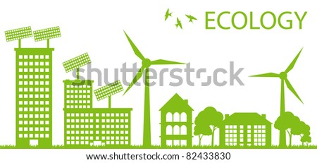 Ecology city and elements background vector concept- solar and wind alternative energy - stock vector