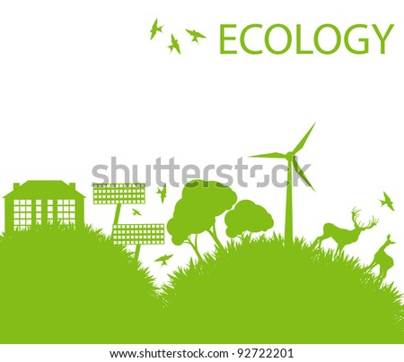 Ecology city and elements background vector concept- wind alternative energy - stock vector