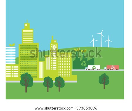 Ecology city illustration. Eco city. Cover design. Vector illustration