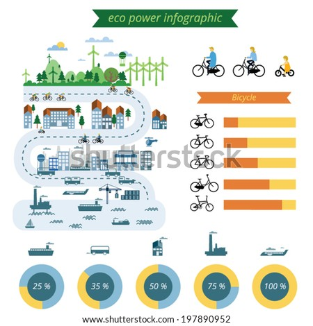 ecology city info graphic elements,vector background and symbol - stock vector