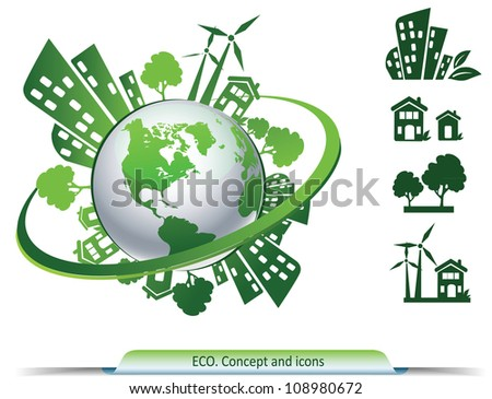 Ecology concept and environment symbols on globe - stock vector