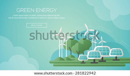 Ecology Concept Banner Template in Flat Design. Vector Illustration. Solar Panels and Wind Turbines - Green Energy Technology. Ecology, Environment and Pollution. Save the Earth. Think Green. - stock vector