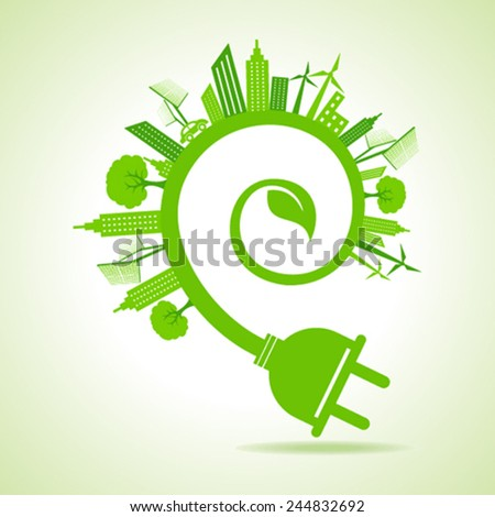 Ecology Concept - eco cityscape with leaf and electric plug stock vector - stock vector