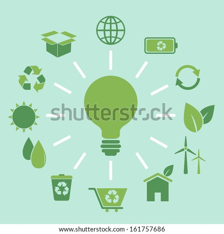 Ecology concept idea in flat style, stock vector
