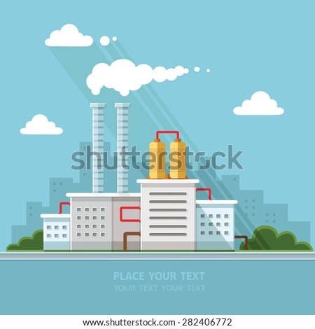 Ecology Concept - industry factory. Flat style vector illustration. - stock vector
