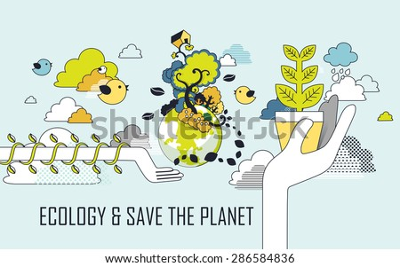 ecology concept: save the planet graphic in line style - stock vector