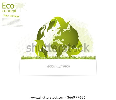 Ecology concept, save the Planet. The globe of triangular recycling symbol over an grass, vector illustration modern template design. Insert the text.