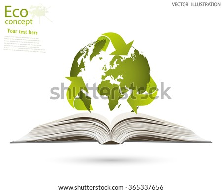 Ecology concept, save the Planet. The globe of triangular recycling symbol over an open book, vector illustration modern template design. - stock vector