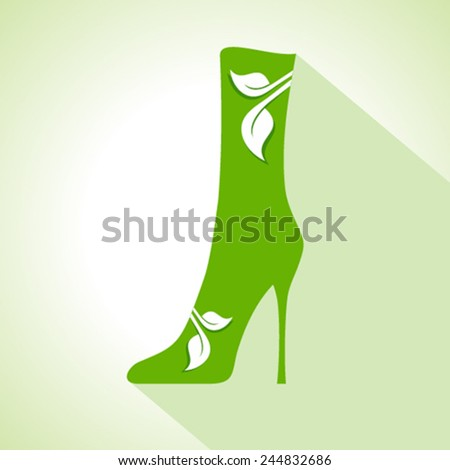 Ecology Concept - shoes with leaf stock vector - stock vector
