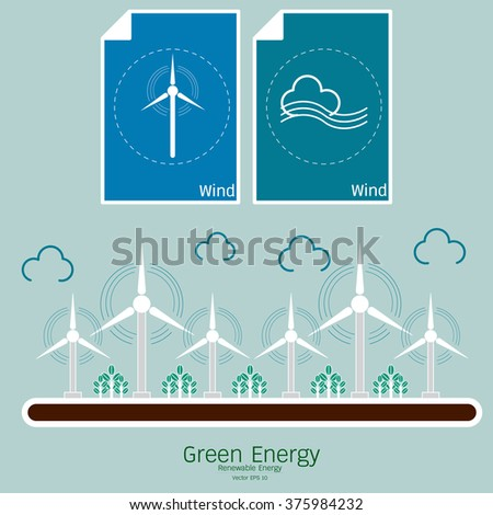 Ecology Concept Vector Icons Set for Environment, Renewable energy in the illustrated. Vector green energy. Connect to renewable energy, ecology background, eco energy concept with set of energy icon. - stock vector
