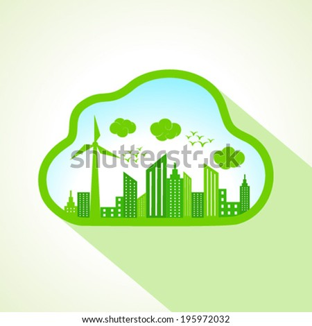 Ecology concept with cloudscape- vector illustration