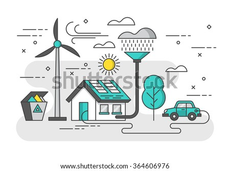 Ecology concept with eco friendly house and green energy. Modern thin line vector illustration - stock vector