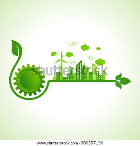 Ecology concept with gear icon  - vector illustration  - stock vector