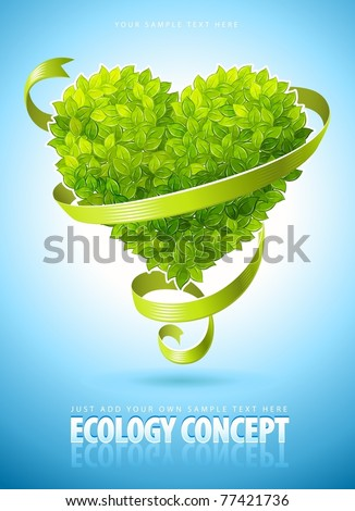 ecology concept with heart of green leaves and ribbon vector illustration - stock vector