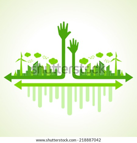 Ecology concept with helping hand - vector illustration - stock vector