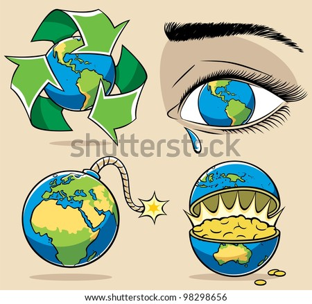 Ecology Concepts: 4 conceptual illustrations on environmental subjects.   No transparency and gradients used. - stock vector