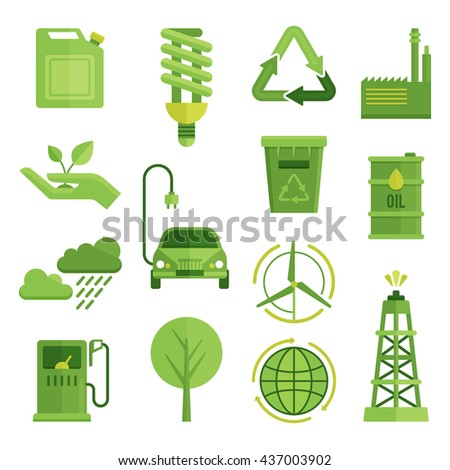 Ecology decorative flat icons set with recycling symbol electric car globe lightbulb wind turbine isolated vector illustration  - stock vector