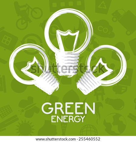 Ecology design over green background, vector illustration. - stock vector