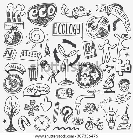 ecology doodles  - stock vector