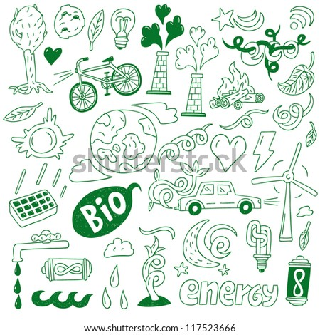 ecology - doodles collection , nature energy