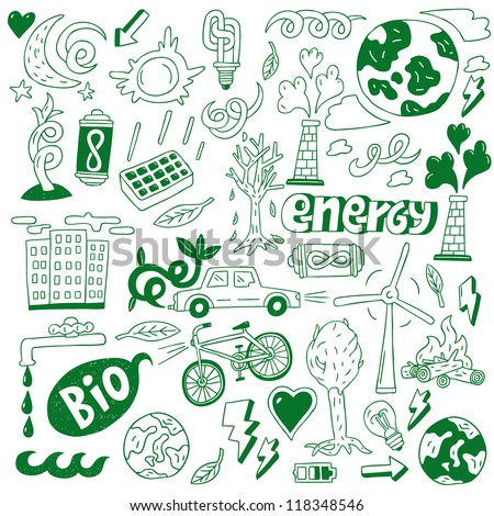 ecology - doodles collection , nature energy - stock vector
