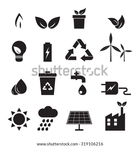 ecology, energy, environment icons set vector design eps 10