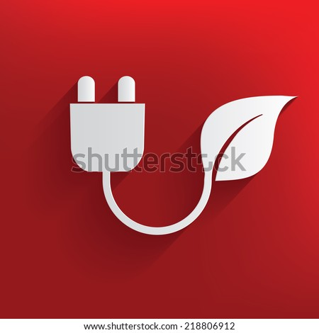Ecology energy on red background,clean vector - stock vector