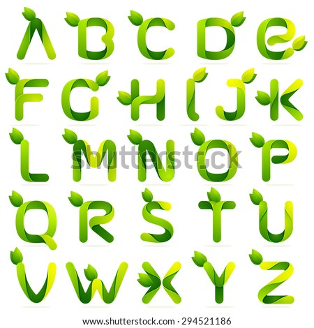 Ecology english alphabet letters with leaves set. Vector design template elements an icon for your ecology application or company - stock vector
