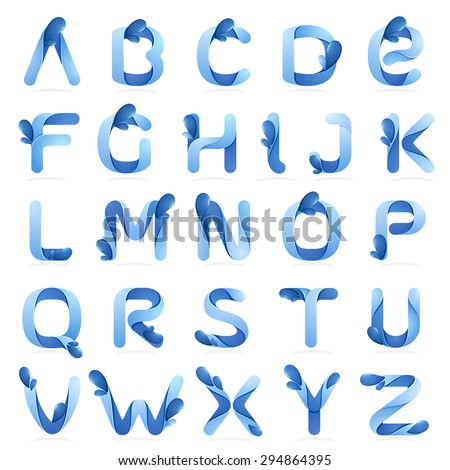 Ecology English Alphabet Letters Water Waves Stock Vector 294864395 ...