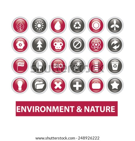 ecology, environment & nature buttons set, vector - stock vector