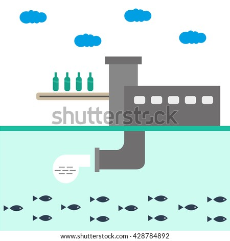 Ecology factory plant vector illustration infographics. The protection of nature. Waste, water pollution - stock vector