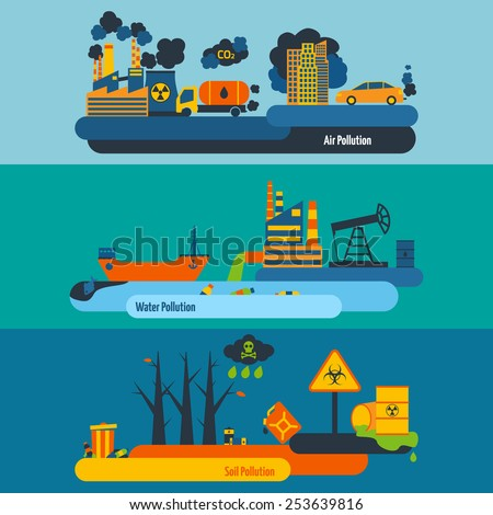 Ecology flat horizontal banner set with air soil water pollution elements isolated vector illustration