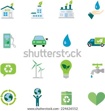 Ecology  flat icon set - stock vector
