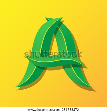Ecology font from leaves, letter A. - stock vector