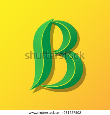 Ecology font from leaves, letter B. - stock vector
