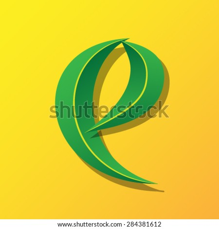 Ecology font from leaves, letter e - lowercase. - stock vector