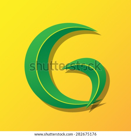 Ecology font from leaves, letter G. - stock vector