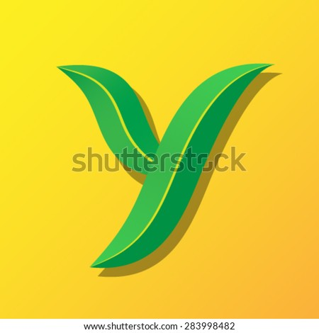 Ecology font from leaves, letter Y. - stock vector