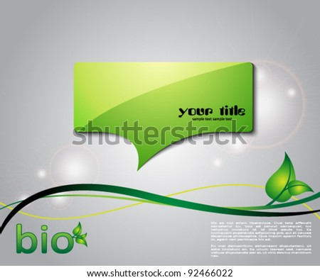 ecology green background with speech bubble and leaves - stock vector