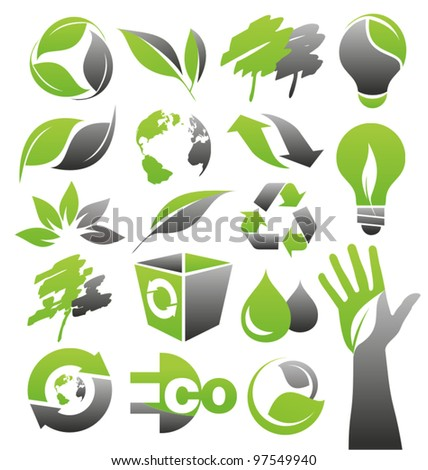 Ecology green icons. Collection of Eco signs, symbols and labels. Modern artistic concept with minimalistic vector illustrations.  - stock vector