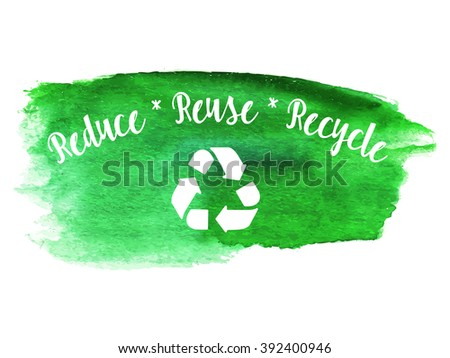 Ecology green logotype on abstract watercolor paint blot isolated on a white background. Vector watercolor ecology themed icon. Recycle green environmental concept. - stock vector