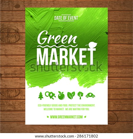 Ecology Green market invitation poster. Green stroke trees and shrubs on wood background. - stock vector