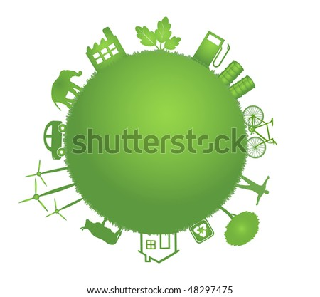 ecology green planet illustration - stock vector