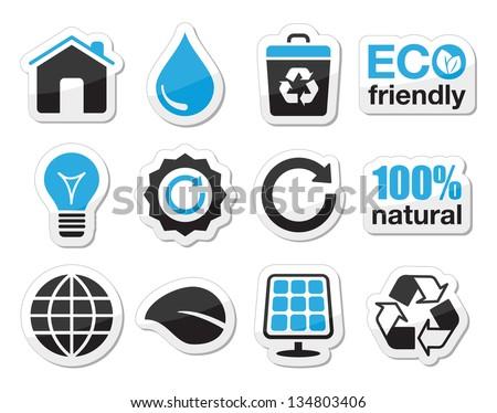 Ecology, green, recycling vector icons set - stock vector