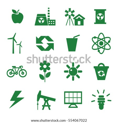 ecology green simple icons, nature banners