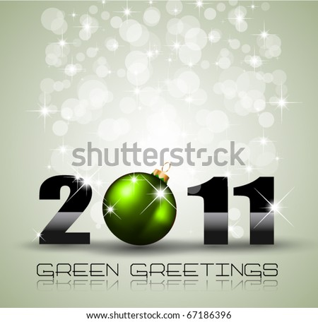 Ecology Green Themed Greetings for  New Year Posters - stock vector