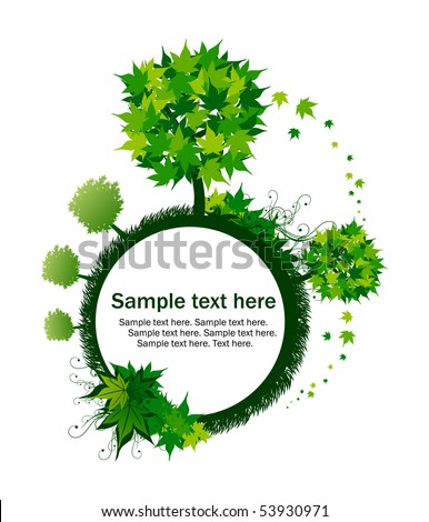 Ecology green tree with text in circle