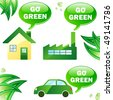 Ecology house, car and industry. Editable Vector Image - stock vector